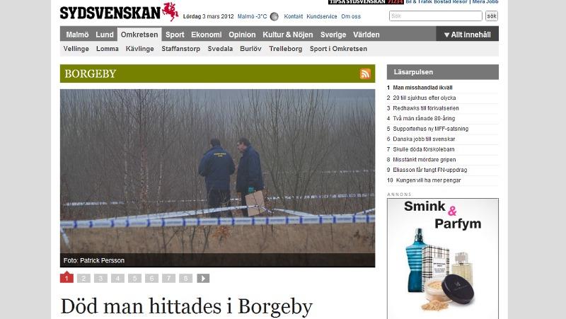 Zastrzelony w Szwecji - Morderstwo w Borgeby od kilku dni jest głównym tematem na portalu sydsvenskan.se
