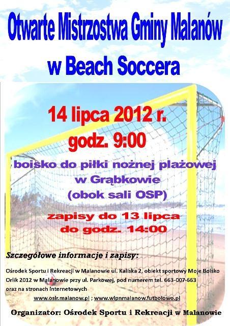 Otwarte Mistrzostwa Gminy Malanów w Beach Soccera - Źródło: Ośrodek Sportu i Rekreacji w Malanowie