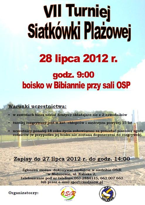 VII Turniej Siatkówki Plażowej tym razem w Bibiannie - Źródło: OSiR w Malanowie