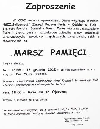 Marszem uczczą bolesną rocznicę - Źródło: www.miastoturek.pl