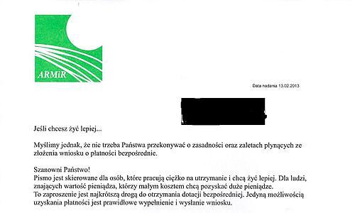 ARiMR ostrzega przed oszustami! - Fragment pisma jakie otrzymało wielu rolników w całej Polsce. Źródło: ARiMR