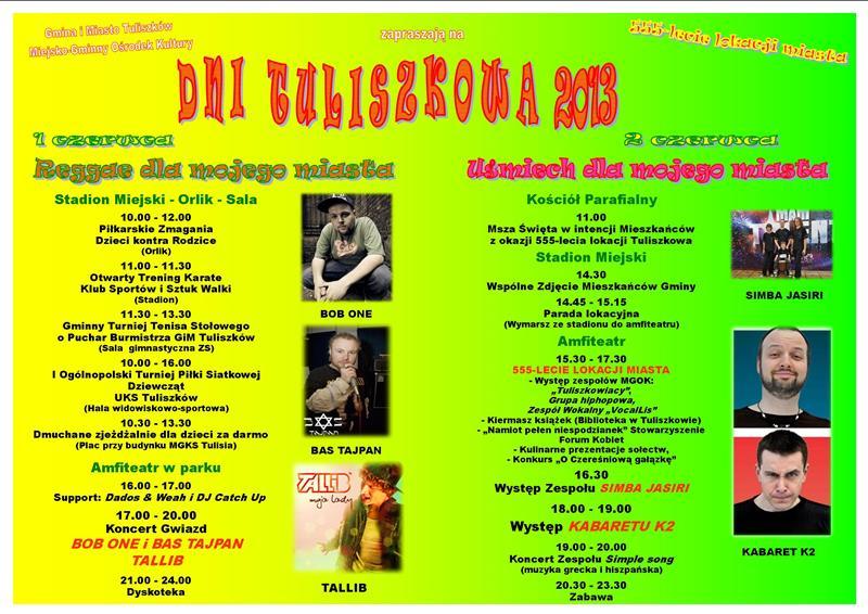 Dni Tuliszkowa w rytmach reggae - Źródło: www.tuliszkow.pl