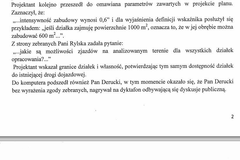 Zmanipulowany protokół z dyskusji publicznej  - Fragment opublikowanego na BIP protokołu z dyskusji publicznej