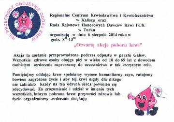 Oddaj krew podczas odpustu w Galewie!