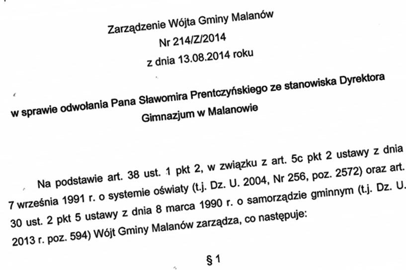 Krzeszewski odwołał dyrektora Prentczyńskiego