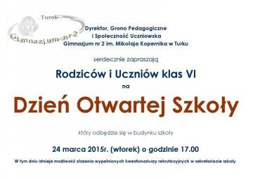Zaproszenie dla szóstoklasistów na Dzień Otwartej Szkoły w Gimnazjum nr 2