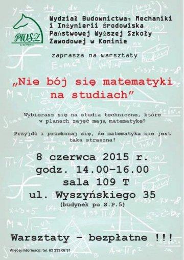 Bezpłatne warsztaty matematyczne w PWSZ