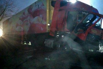 Wjechał ciężarówką w pole - foto dzięki uprzejmości OSP Dobra /