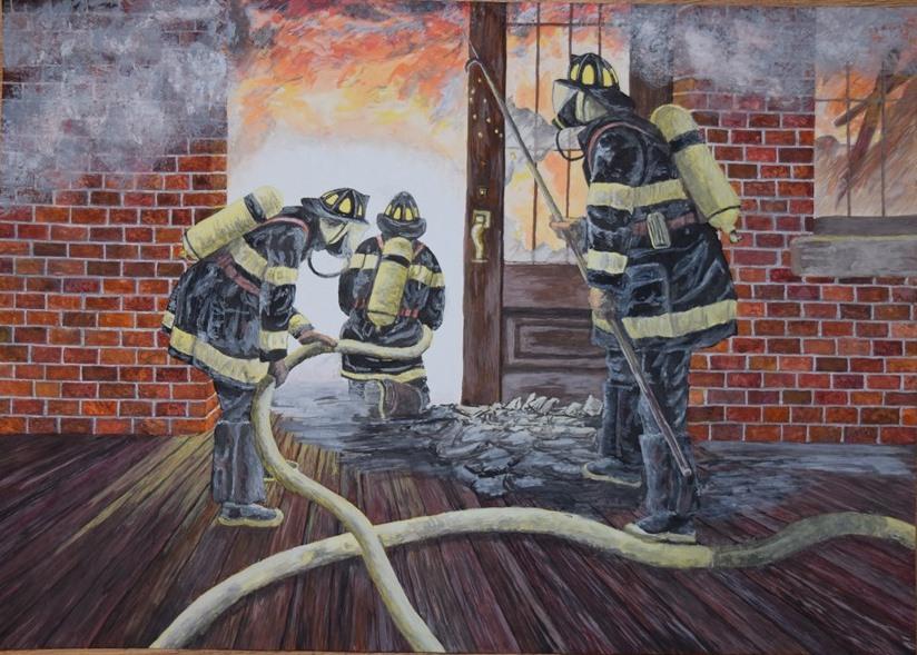 Tak namalowani strażaków i ich pracę - autor: Justyna Orligóra