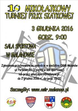 X Mikołajkowy Turniej Piłki Siatkowej w Malanowie