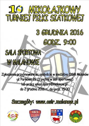 Malanów: X Mikołajkowy Turniej Piłki Siatkowej już 3 grudnia