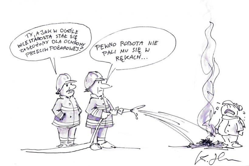 Komentarz satyryczny: Wzorowy strażak ze starostwa - autor: Heniu