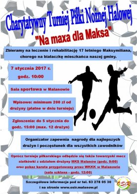 Pomoc na maxa dla Maksa! Charytatywny Turniej Piłki Nożnej Halowej