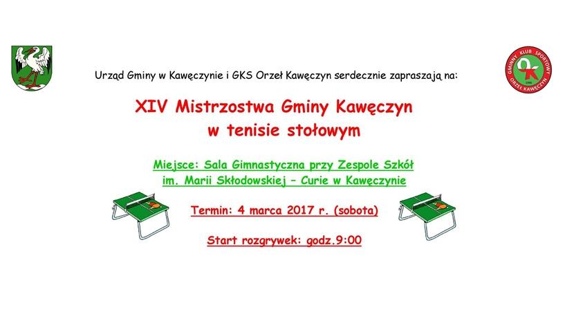 XIV Mistrzostwa Gminy Kawęczyn w Tenisie Stołowym. Zagraj w nich i Ty