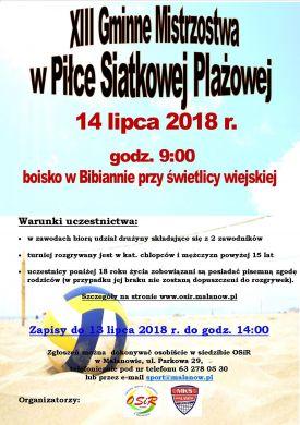 XIII Gminne Mistrzostwa w Piłce Siatkowej Plażowej w Bibiannie