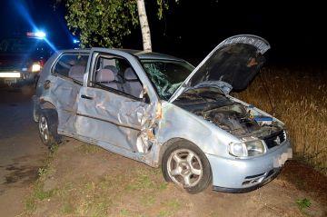 Władysławów: Rozbił Volkswagena na drzewie