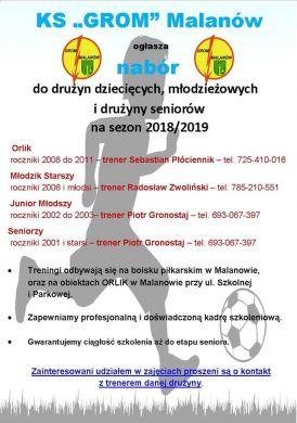 Nabór zawodników Gromu Malanów