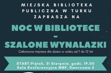 Turek: Ruszyły zapisy na Noc w Bibliotece