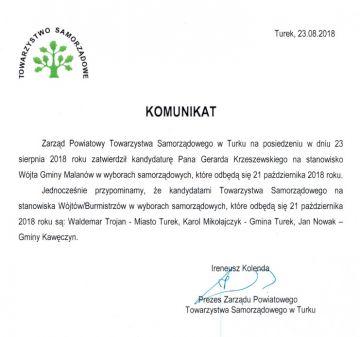 Wybory 2018: Gerard Krzeszewski wraca do polityki. Chce znów być wójtem w Malanowie