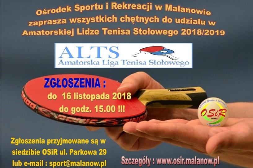 Malanów: Amatorska Liga Tenisa Stołowego 2018/2019 - zapisy trwają