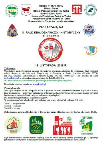 III Rajd Krajoznawczo-Historyczny Turek 2018