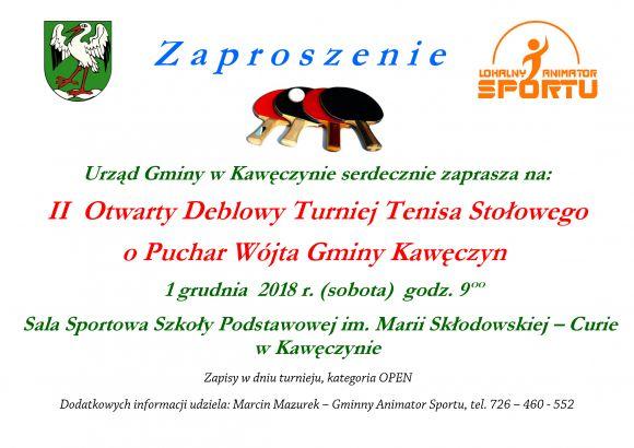 II OtwartyTurniej Deblowy o Puchar Wójta Gminy...