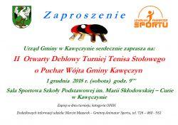 II OtwartyTurniej Deblowy o Puchar Wójta Gminy Kawęczyn