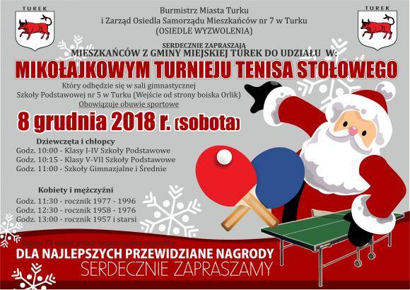 Mikołajkowy Turniej w Tenisie Stołowym
