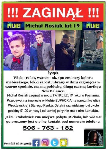 Zaginął Michał Rosiak, prośba o pomoc w odnalezieniu