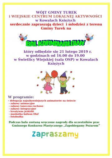 Bal Karnawałowy dla dzieci i młodzieży