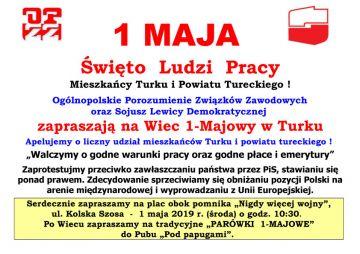 Już za tydzień 1-Maja Święto Ludzi Pracy. SLD zaprasza na wiec