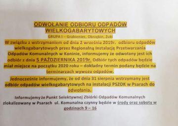 Odbiór odpadów wielkogabarytowych na terenie gminy Turek odwołany - i co dalej?