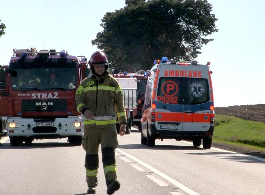 Wideo: Wypadek motocykla w Olimpii. Motocyklista i pasażerka przewiezieni do Szpitala