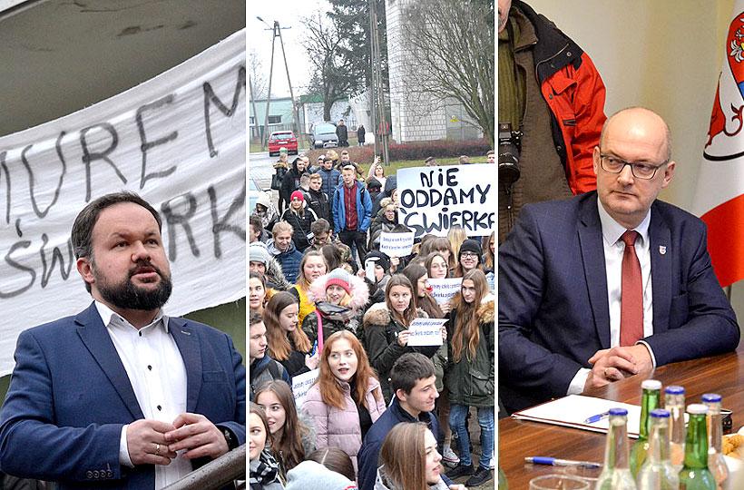 Wideo: MuremZaŚwierkiem - Uczniowie protestowali pod szkołą i spotkali się ze Starostą