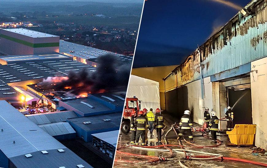 Wideo: Pożar w Sun Garden w Malanowie. Ewakuowano 750 pracowników - foto: Wiesław Karbowy oraz Powiat Turek