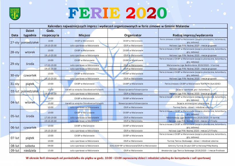 Ferie zimowe 2020 w Malanowie
