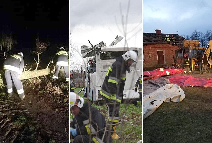 Huragan Ciara przeszedł nad powiatem. Ponad 20 interwencji strażaków - fot. OSP Malanów / Archiwum Turek.net.pl