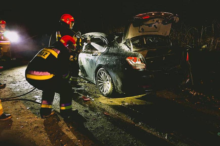 Kolejny nocny pożar na parkingu. Spłonęło BMW na POW - fot. Zdjęcie ilustracyjne / OSP Świerklaniec