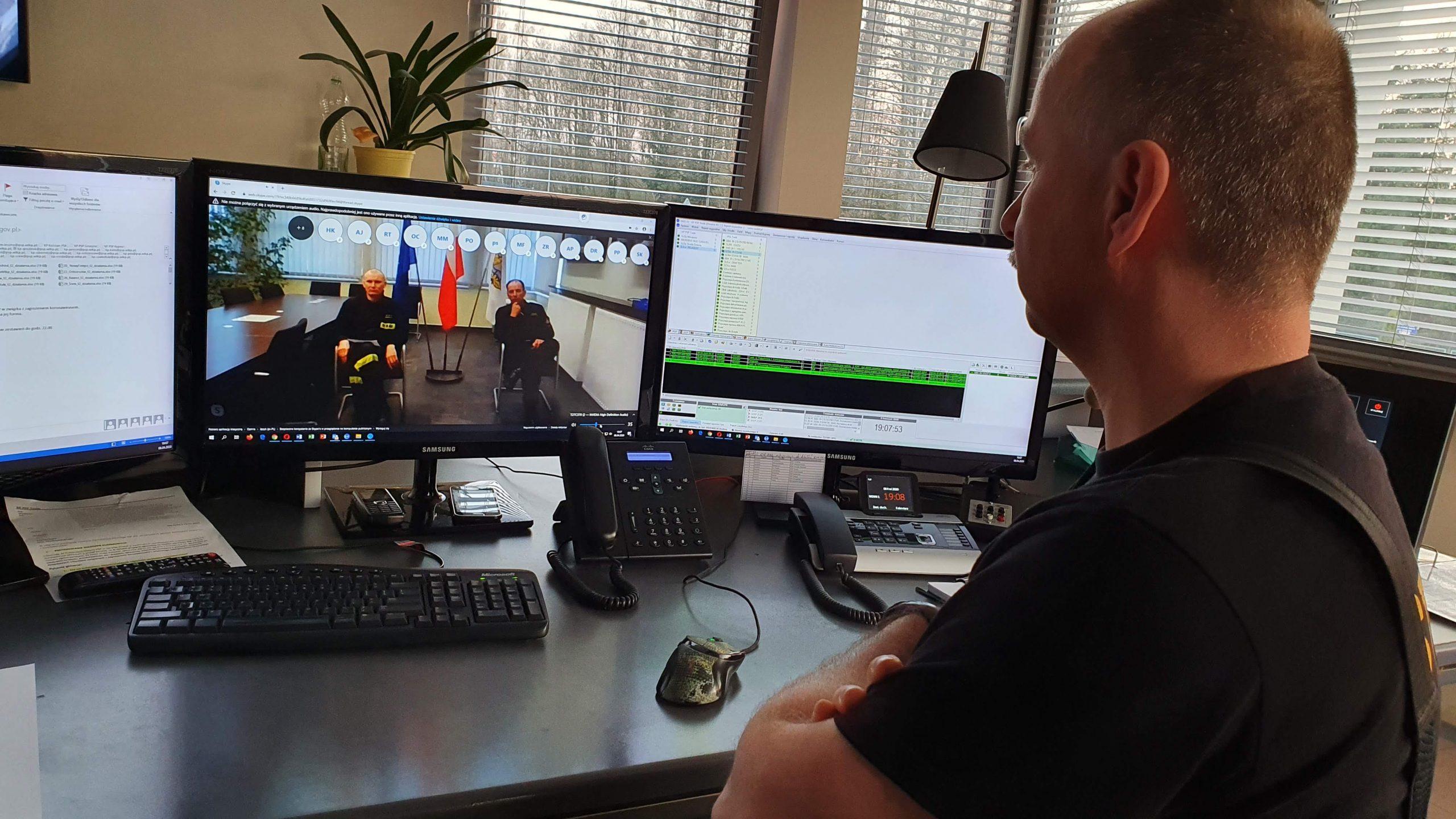 Wideokonferencja jednostek OSP w KSRG z terenu...