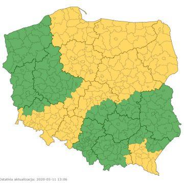 Ostrzeżenie I stopnia dla powiatu tureckiego w związku z niebezpieczną sytuacją metrologiczną