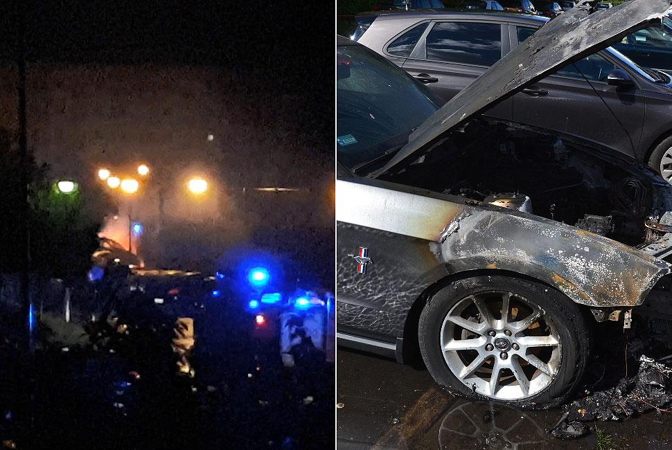 Wideo: Kolejne podpalenie samochodu w Turku? W nocy płonął Ford Mustang na Piłsudskiego