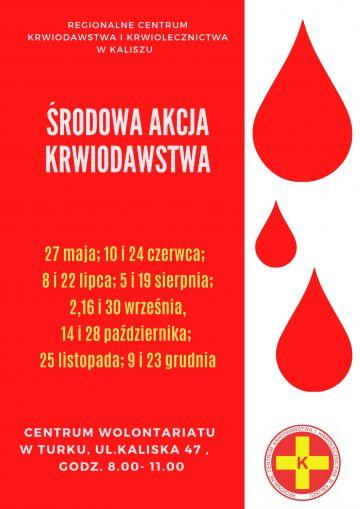Zmiana miejsc przeprowadzania środowych akcji poboru krwi w Turku