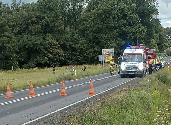 Wypadek motocykla pod Grzymiszewem. Pasażerka...