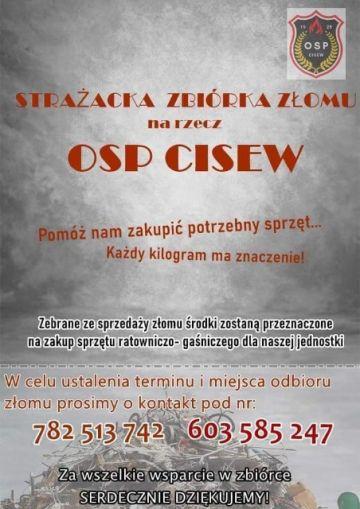 Druhowie z OSP Cisew organizują zbiórkę złomu.