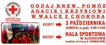 Zbiórka krwi dla Krzysia i Agaty już w sobotę!