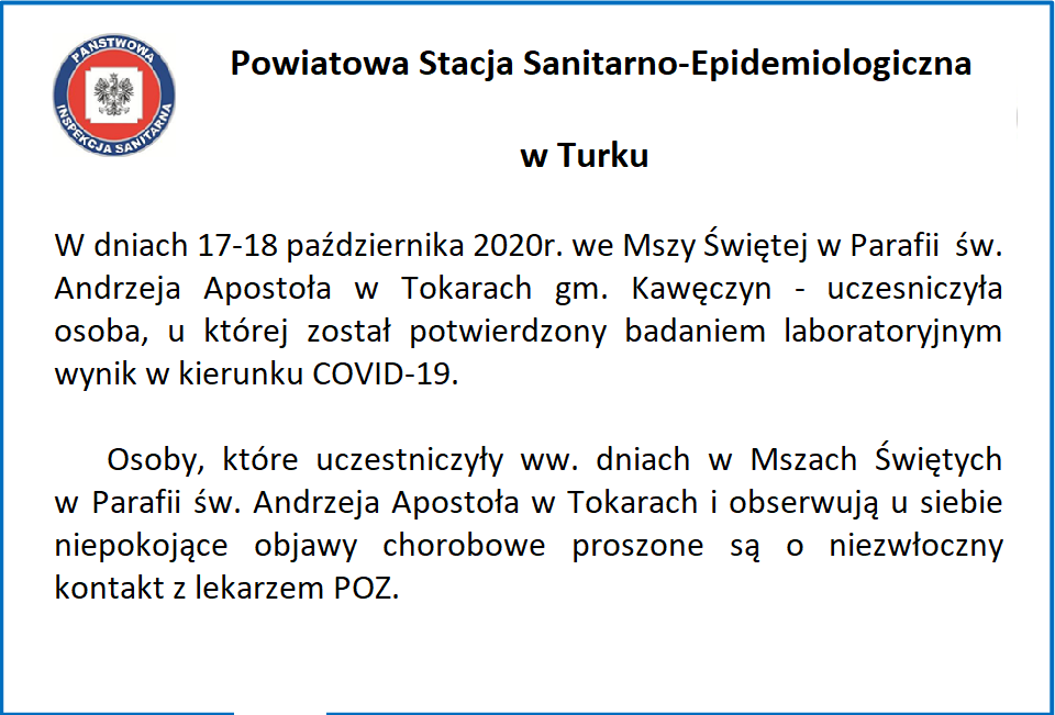 Apel PSSE Turek do uczestników Mszy Świętej w Tokarach
