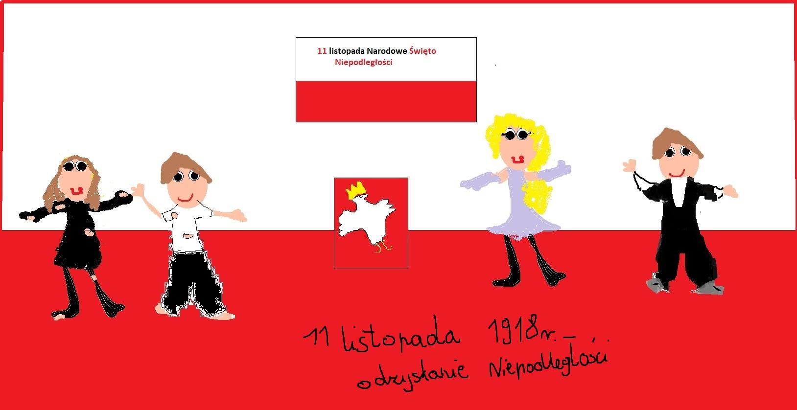 Okolicznościowe plakaty na Święto Niepodległości w SP1 - Plakat: Adrianna Przyszło