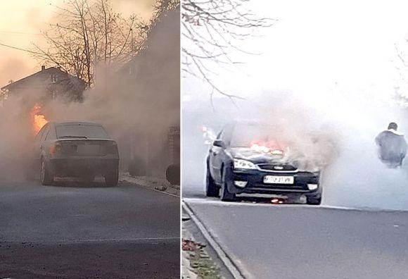 Brudzew: Wideo: Pożar samochodu osobowego z instalacją LPG w Bratuszynie.