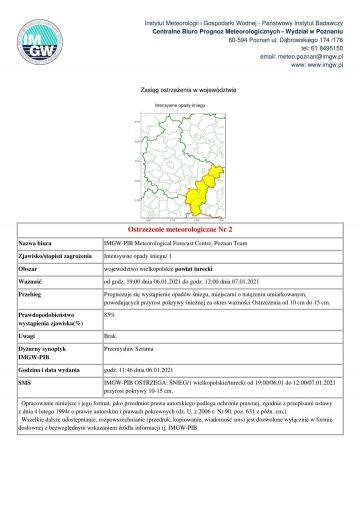 Intensywne opady śniegu w powiecie tureckim. IMGW wydał ostrzeżenie dla wschodniej Wielkopolski.