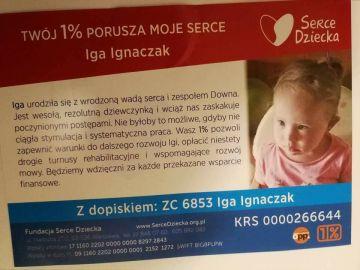 1% lokalnie: Iga potrzebuje wsparcia. Pomóżmy jej